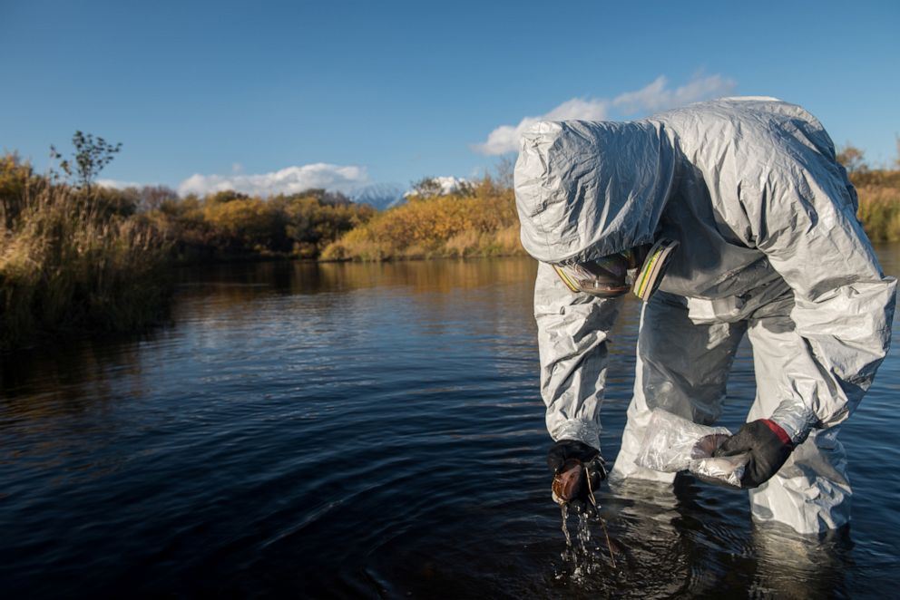 PHOTO: An expert works during the Greenpeace expedition to inspect territories of Kamchatka peninsula that could be affected by pollution, Russia, on Oct. 8, 2020.
