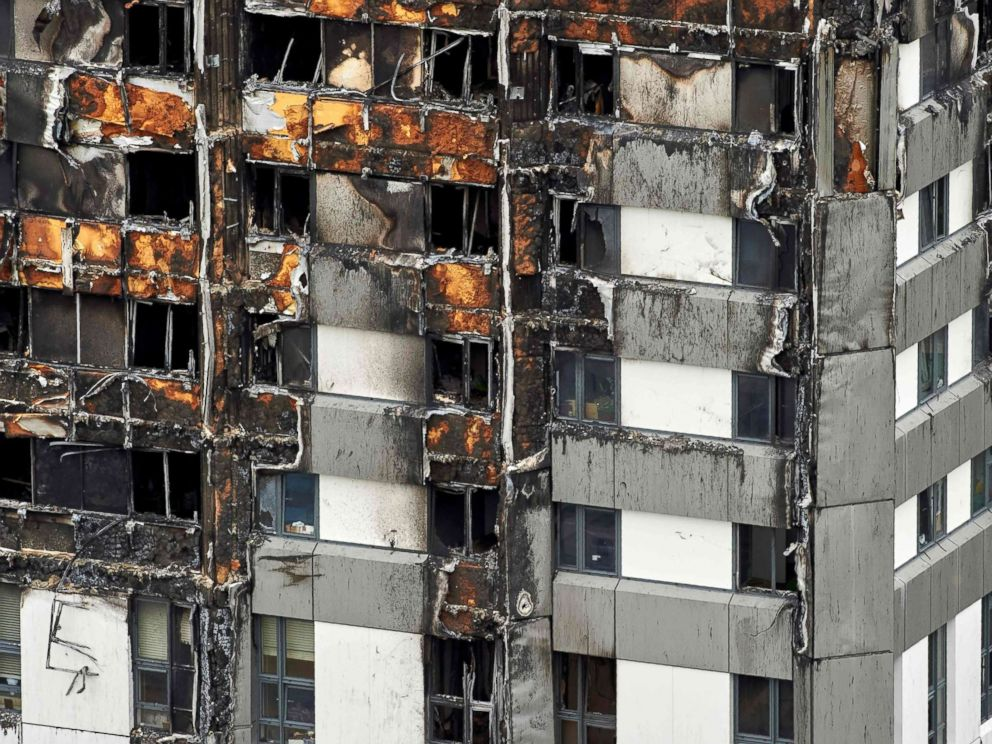 PHOTO: Grenfell Tower is pictured in London on June 22, 2017, after a fire killed 71 people.