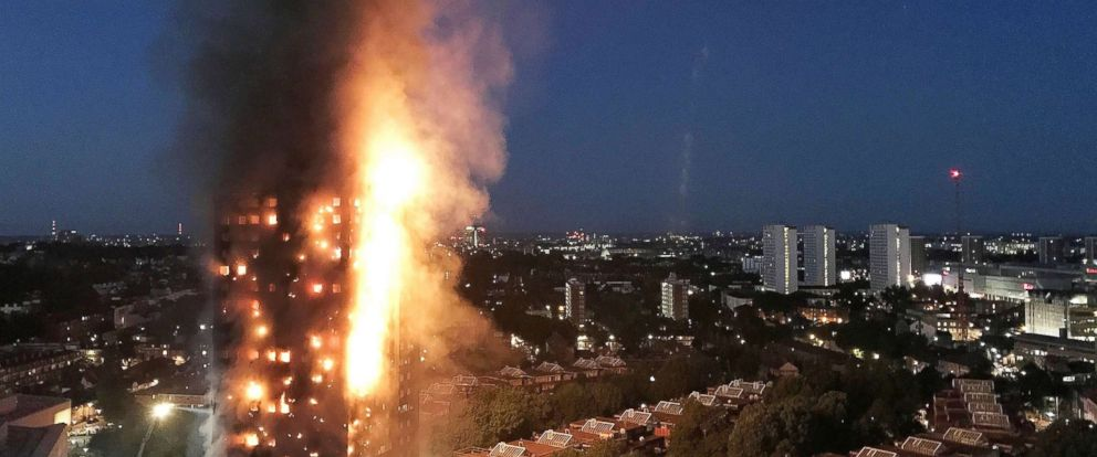 PHOTO: A huge fire engulfs the 24 story Grenfell Tower in Latimer Road, West London in the early hours of this morning in this June 14, 2017 file photo in London.
