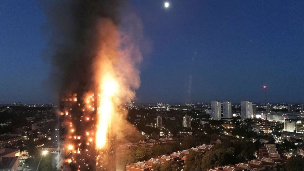 A huge fire engulfs the 24 story Grenfell Tower in Latimer Road, West London in the early hours of this morning in this June 14, 2017 file photo in London.