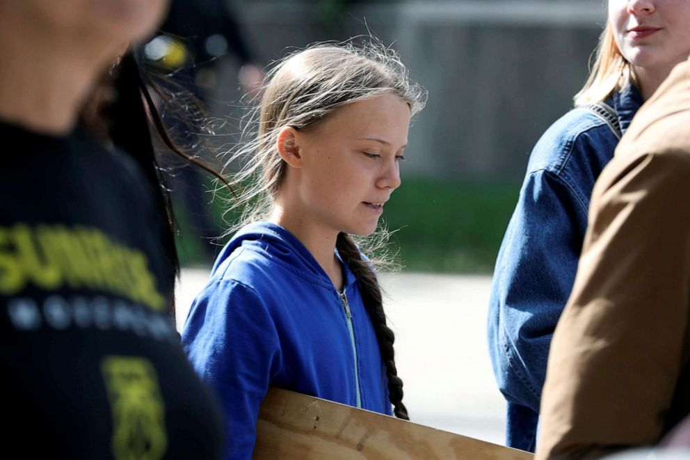 PHOTO: Climate change environmental teen activist Greta Thunberg leaves after speaking during a climate strike rally in Iowa City, Iowa, Oct. 4, 2019.