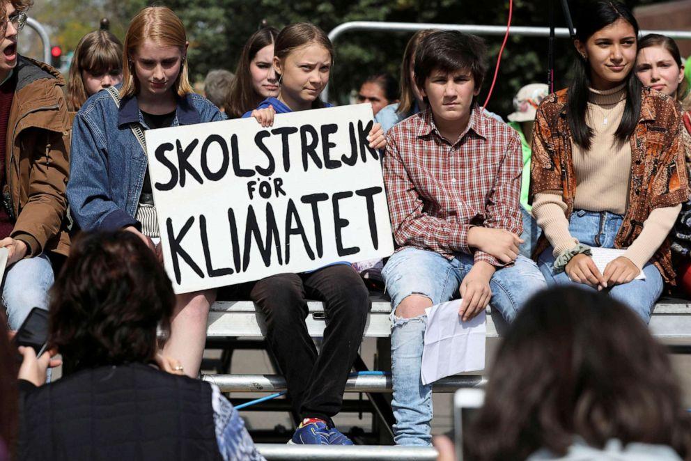 PHOTO: Climate change environmental teen activist Greta Thunberg participates in a climate strike rally in Iowa City, Iowa, Oct. 4, 2019.
