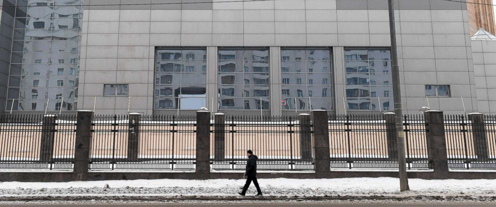 PHOTO: A man walks past the building of the headquarters of the Russian General Staffs Main Intelligence Department in Moscow on Dec. 30, 2016.