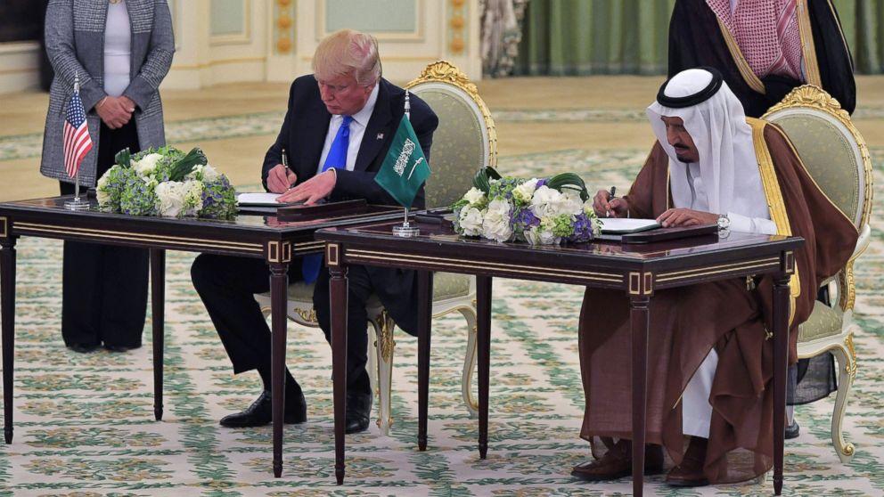 President Donald Trump and Saudi Arabia's King Salman bin Abdulaziz al-Saud take part in a signing ceremony at the Saudi Royal Court in Riyadh, May 20, 2017.