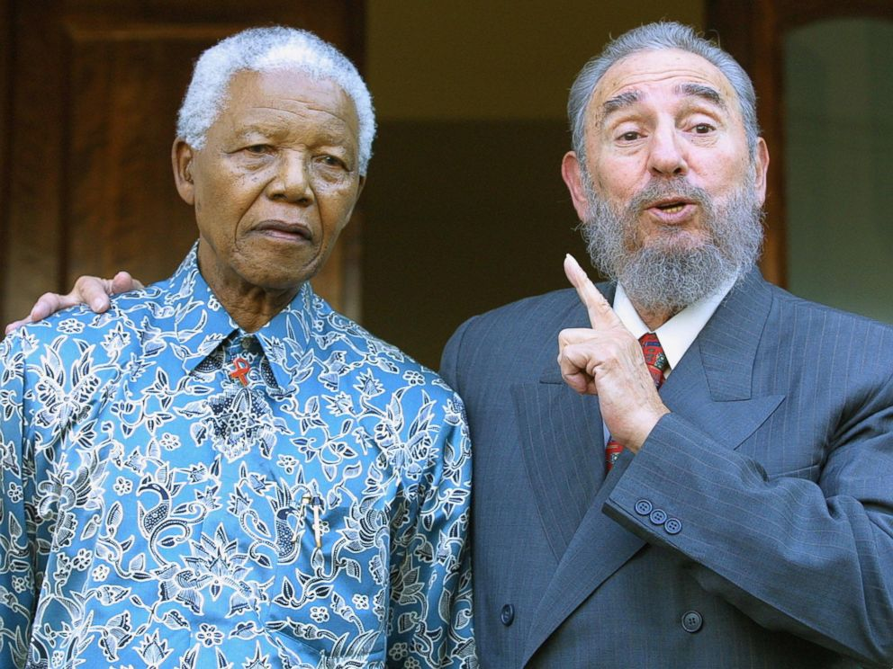 PHOTO: Cuban president Fidel Castro meets with former South African president Nelson Mandela at Mandelas office in Johannesburg, Sept. 2, 2001.
