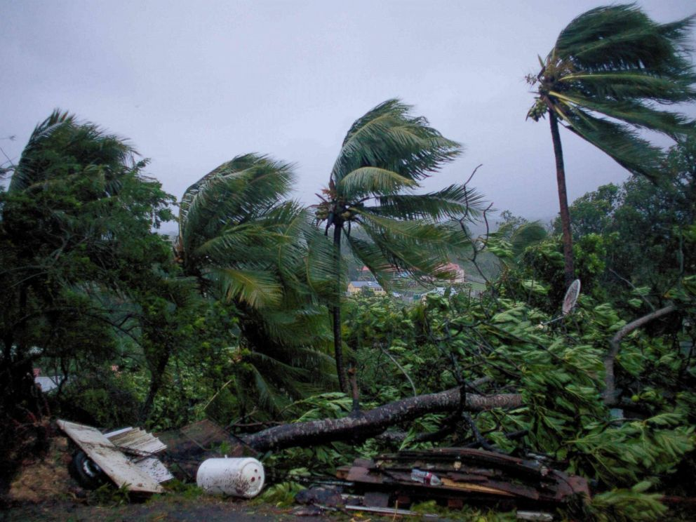 PHOTO: A picture taken on Sept. 19, 2017 shows the powerful winds and rains of hurricane Maria battering the city of Petit-Bourg on the French overseas Caribbean island of Guadeloupe.