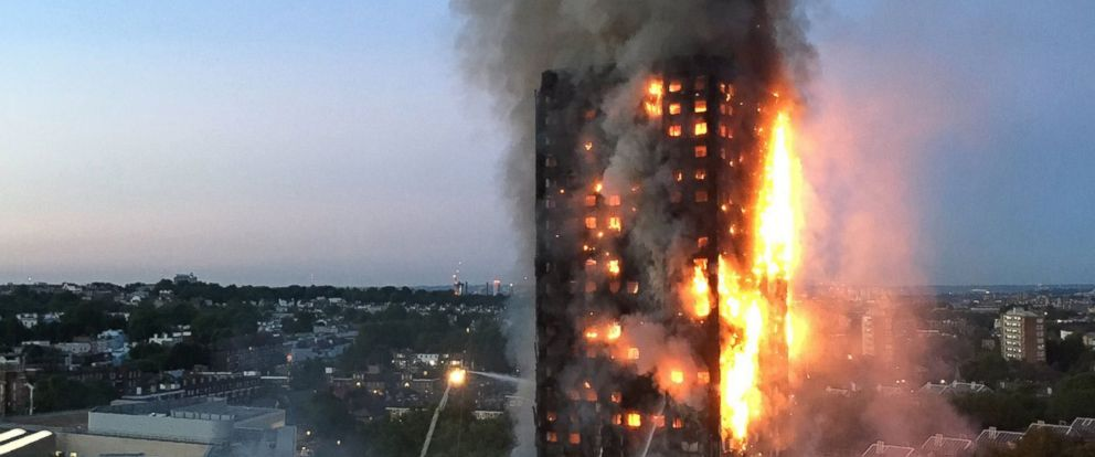 PHOTO:This handout image received by local resident Natalie Oxford early, June 14, 2017, shows flames and smoke coming from a 27-story block of flats after a fire broke out in west London.