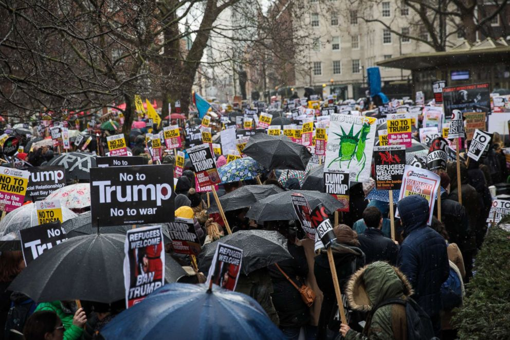 PHOTO: Thousands of demonstrators protest outside the U.S. Embassy against U.S. President Donald Trump, Feb. 4, 2017, in London.