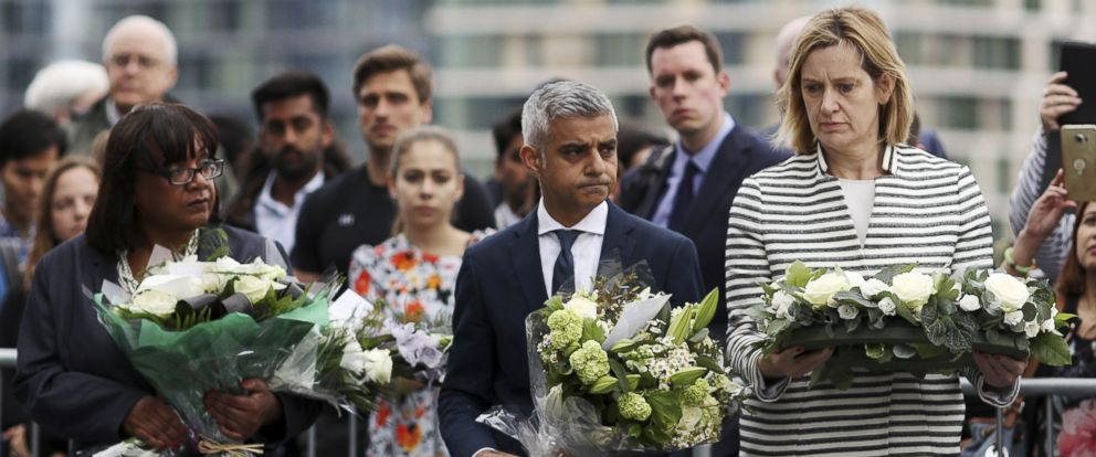 PHOTO: Diane Abbott, MP for Hackney North and Stoke Newington, Mayor of London Sadiq Khan and Home Secretary Amber Rudd take part in a vigil for the victims of the London Bridge terror attacks, in Potters Fields Park, June 5, 2017, in London.