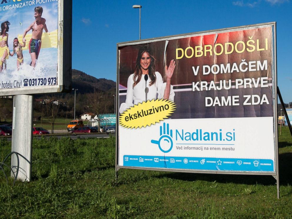 PHOTO: A sign which reads Welcome to the Hometown of the First Lady in Slovenian, is pictured among other billboards on Nov. 29, 2016 in Sevnica, Slovenia.