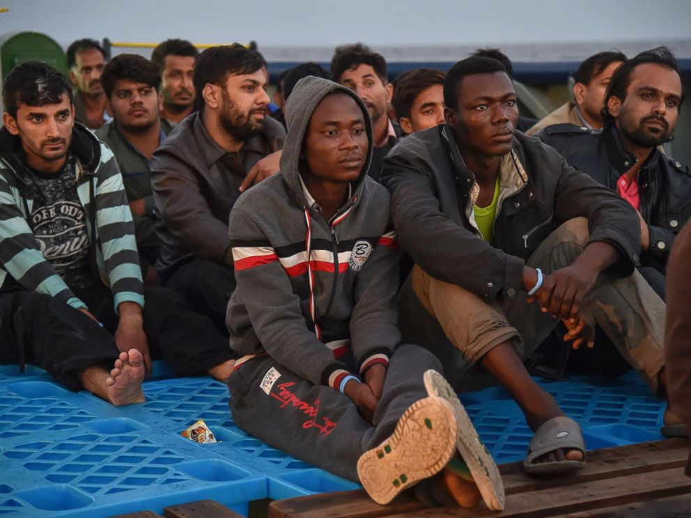 PHOTO: Refugees sit aboard the ship Topaz Responder after being rescued off the Libyan coast in the Mediterranean Sea, Nov. 3, 2016.