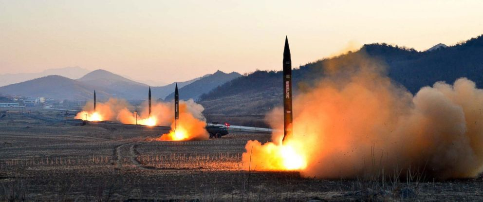 PHOTO: An undated picture released by North Koreas Korean Central News Agency on March 7, 2017 shows the launch of four ballistic missiles by the Korean Peoples Army during a military drill at an undisclosed location in North Korea.