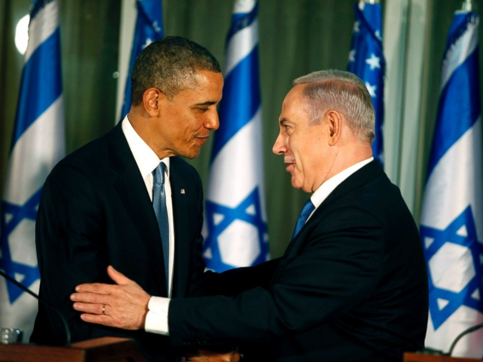 PHOTO: U.S. President Barack Obama (L) greets Israeli Prime Minister Benjamin Netanyahu during a press conference, March 20, 2013, in Jerusalem.