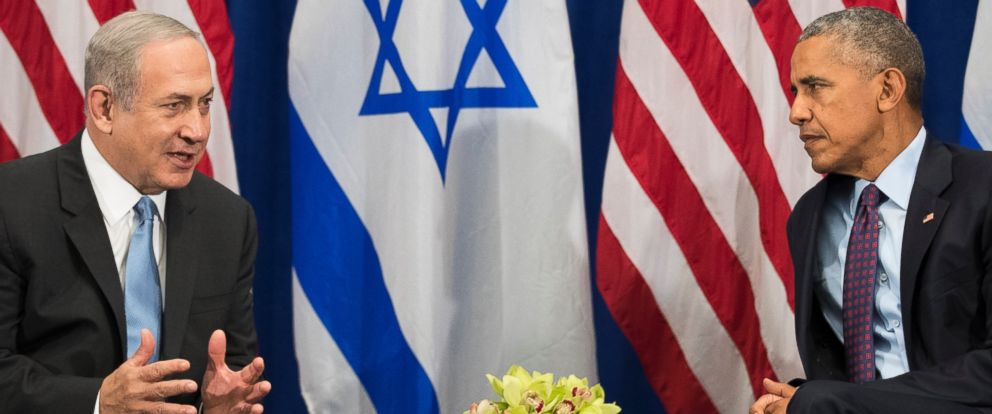 PHOTO: Prime Minister of Israel Benjamin Netanyahu speaks to U.S. President Barack Obama during a bilateral meeting at the Lotte New York Palace Hotel, Sept. 21, 2016, in New York.