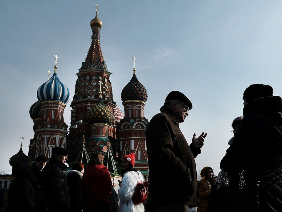 PHOTO: People walk through Red Square in Moscow on March 7, 2017 in Moscow, Russia.
