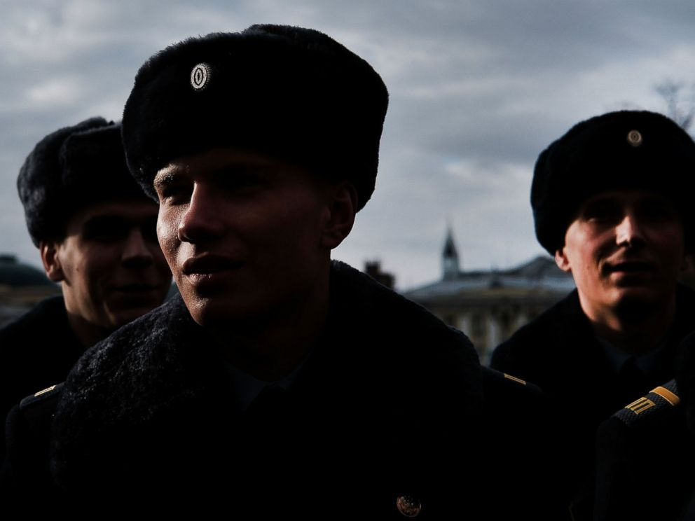 PHOTO: Members of the Presidential Regiment stand outside of the Tomb of the Unknown Soldier on March 4, 2017 in Moscow.