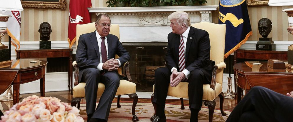 PHOTO: A handout photo made available by the Russian Foreign Ministry shows Russian Foreign Minister Sergei Lavrov speaking with President Donald J. Trump in the Oval Office, May 10, 2017.