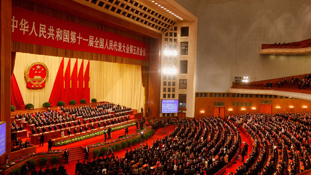 PHOTO: Delegates attend the closing ceremony of the closing session of the National Peoples Congress (NPC) at The Great Hall Of The People on March 14, 2012 in Beijing, China.