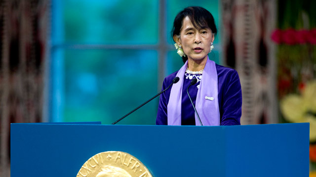 PHOTO: Nobel peace prize laureate, Myanmar opposition leader Aung San Suu Kyi gives her Nobel lecture in Oslo on June 16, 2012.