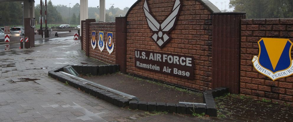 PHOTO: The entrance to the US Airbase in Ramstein, Germany, is seen in this Nov. 6, 2013 file photo.