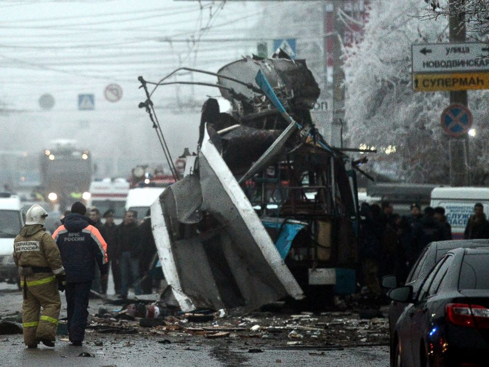PHOTO: Russian firefighters and security personnel inspect the destroyed trolleybus in Volgograd, Dec. 30, 2013.