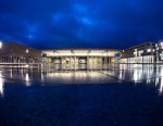 """PHOTO: The terminal building of the new """"Willy Brandt"""" Berlin Brandenburg International (BER) airport is pictured at dawn, Jan. 10, 2013."""