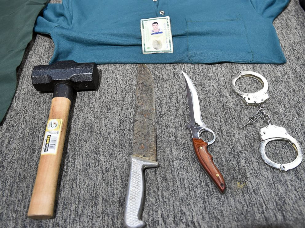 PHOTO: Picture of objects seized during the arrest of alleged serial killer Tiago Gomes da Rocha, suspected of killing 39 people, at the Department of Security in Goiania,Brazil, on Oct. 16, 2014.