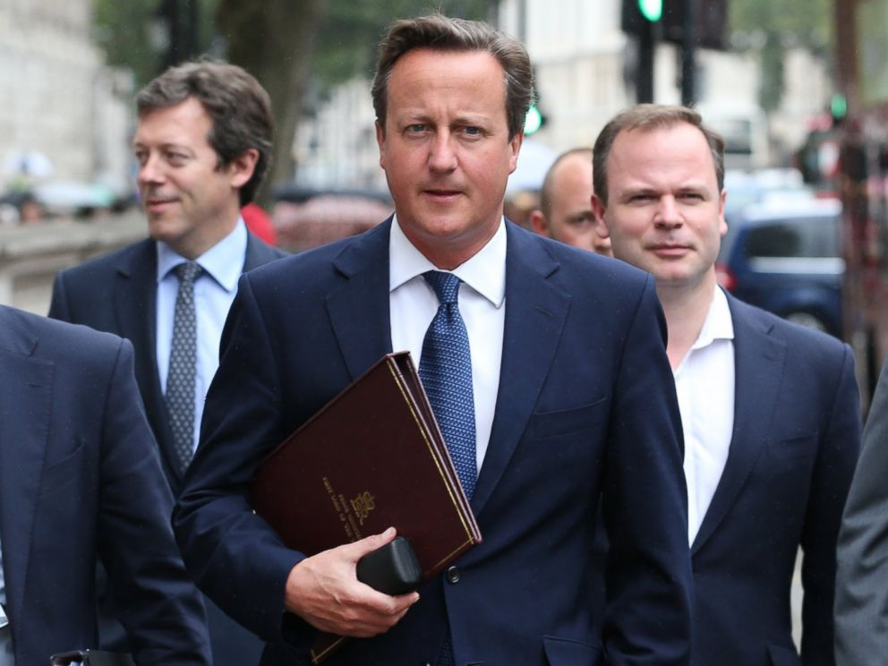 PHOTO: British Prime Minister David Cameron walks to Parliament from Downing Street on Sept. 1, 2014 in London, England.