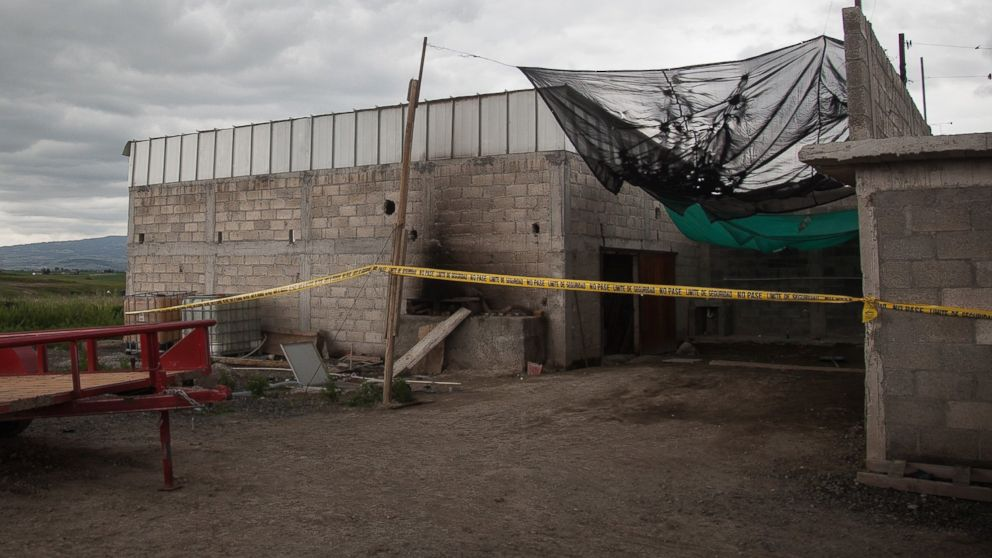 """Exterior view of a half-built house used by """"El Chapo"""" to escape from prison near the maximum security prison of Altiplano in Almoloya de Juarez, state of Mexico on July 12, 2015."""