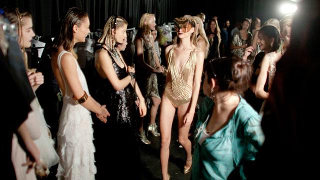 PHOTO: Models prepare backstage before a fashion show during the Tel Aviv Fashion Week, Nov.21, 2011 in Tel Aviv, Israel.