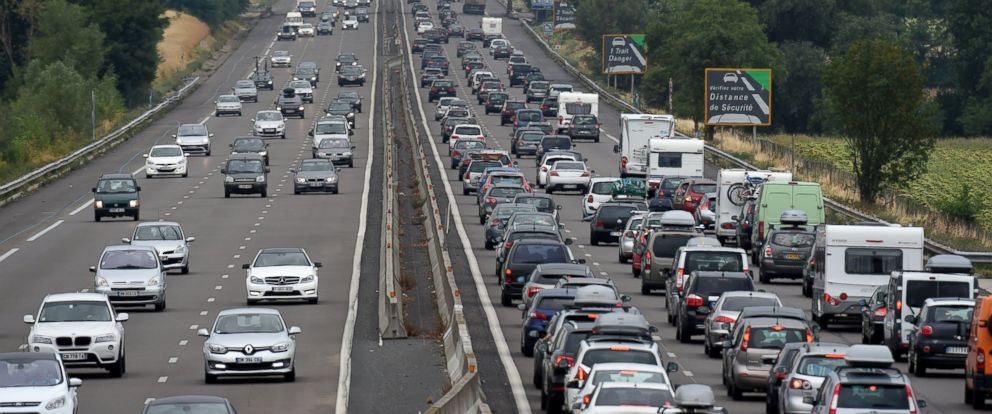PHOTO: Motorists drive in traffic on the A7 motorway, Aug. 1, 2015, between Vienne and Valence, southeastern France.