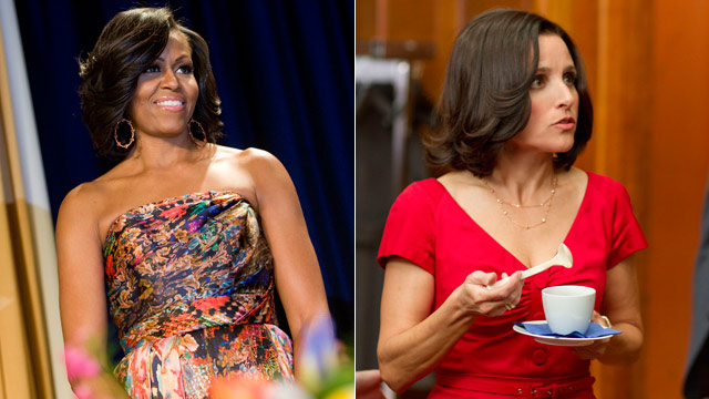 PHOTO: First lady Michelle Obama arrives to the 2012 White House Correspondents' Association Dinner held at the Washington Hilton on April 28, 2012 in Washington, DC. and (R) Julia Louis-Dreyfus plays Selina Meyers, in the new HBO Series VEEP.