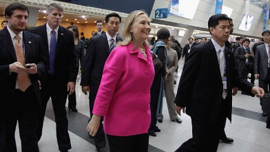 PHOTO: U.S. Secretary of State Hillary Clinton attends the 4th High Level Forum on Aid Effectiveness, Nov. 30, 2011 in Busan, South Korea.