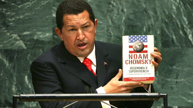 "PHOTO: Venezuelan President Hugo Chavez holds up a book by Noam Chomsky ""Hegemony or Survival: America's Quest for Global Dominance"" while addressing the United Nations General Assembly, Sept. 20, 2006 at the UN in New York City."