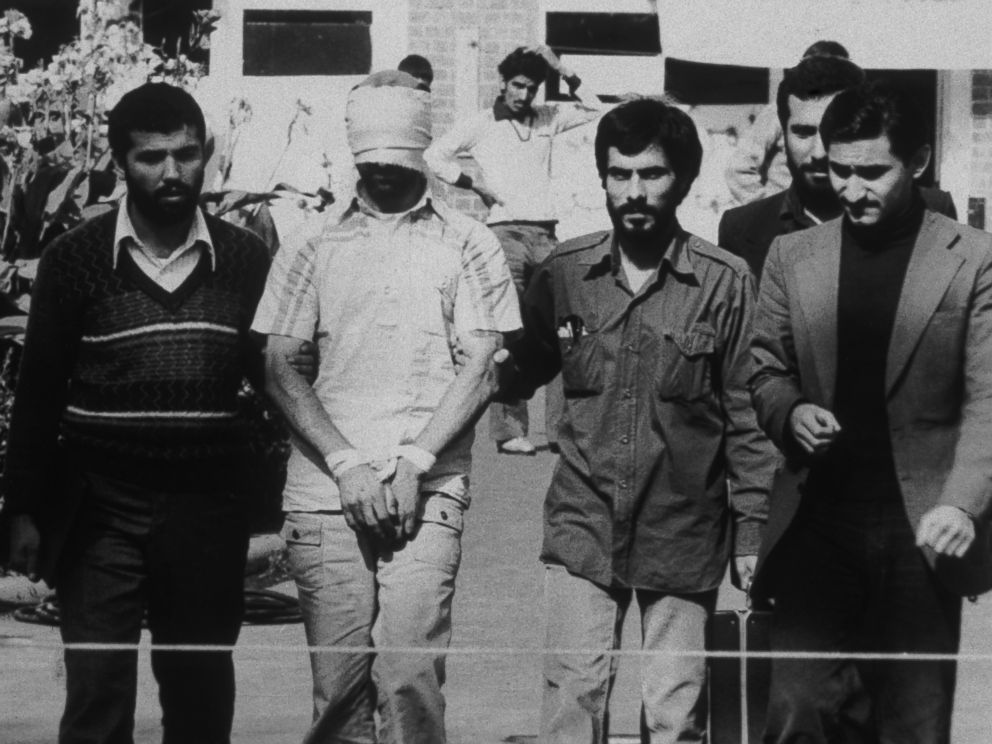 PHOTO: An American hostage being paraded before the cameras by his Iranian captors in Tehran, Iran, 1979.