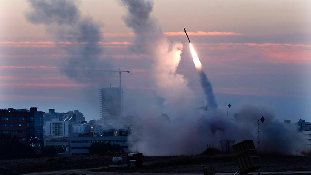 PHOTO: The Iron Dome defense system fires to interecpt incoming missiles from Gaza in the port town of Ashdod, Nov. 15, 2012.