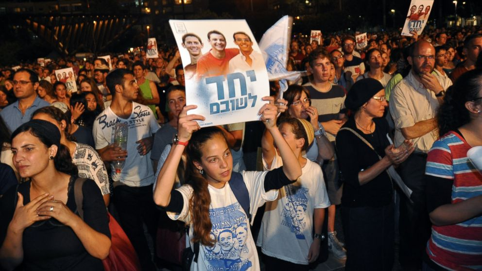 Thousands of people gathered in Tel Aviv's Rabin Square on June 29, 2014 for a rally calling for the release of Naftali Fraenkel, Gilad Shaar and Eyal Yifrah, the three Israeli boys who were kidnappedon June 19 near the West Bank settlement of Gush Etzion.
