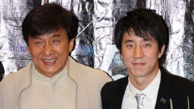 """PHOTO: Actor Jackie Chan and his son Jaycee Chan attend the """"Double Trouble"""" premiere on June 5, 2012 in Beijing, China."""