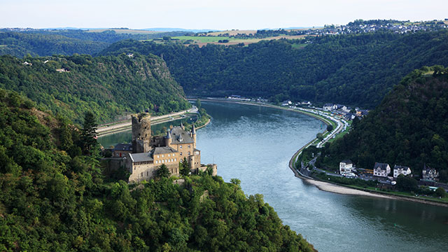 PHOTO: Castle Katz and Loreley in the Upper Middle Rhine Valley, Germany, is a UNSCO World Heritage site.