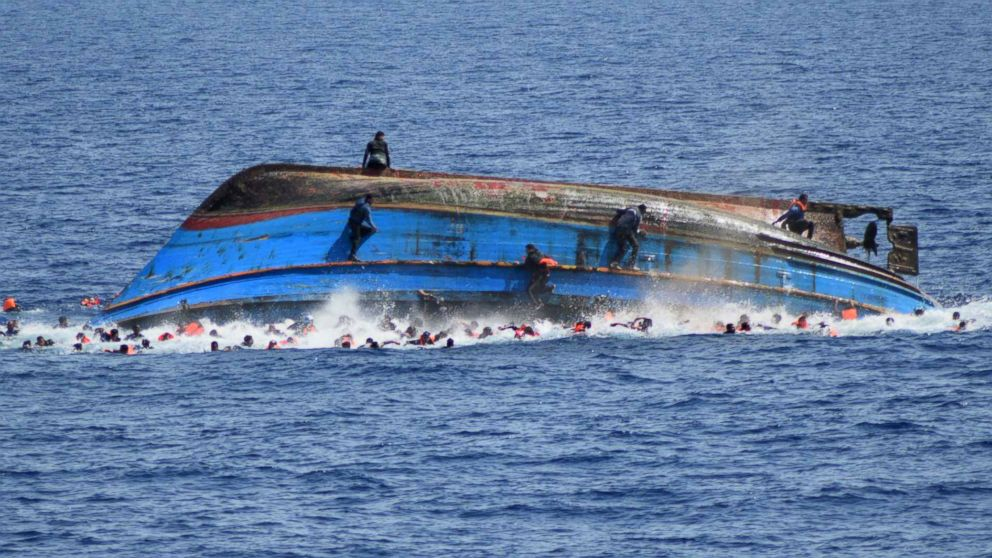 A handout picture from the Italian Navy shows the shipwreck of an overcrowded boat of migrants off the Libyan coast, May 25, 2016.
