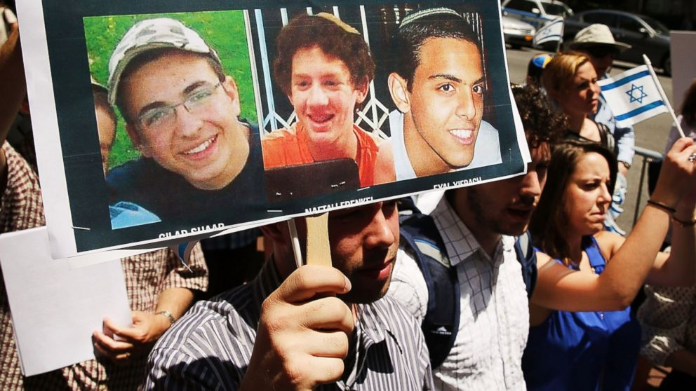 People gather for a vigil for the three Israeli teens outside of the Israeli Consulate on June 16, 2014 in New York City.