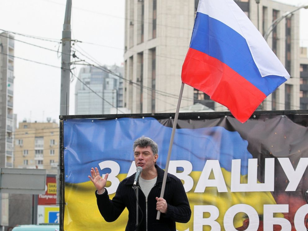 PHOTO: Russian opposition leader and formed Deputy Prime Minister Boris Nemtsov speaks during a rally against the policies and intervention in Ukraine and a possible war in Crimea in Moscow, March 15, 2014.