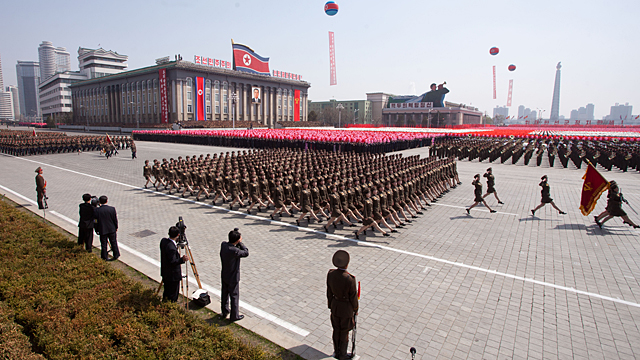 PHOTO: North Korean soldiers march during a military parade in honor of the 100th birthday of the late North Korean leader Kim Il-Sung in Pyongyang in this April 15, 2012 file photo.