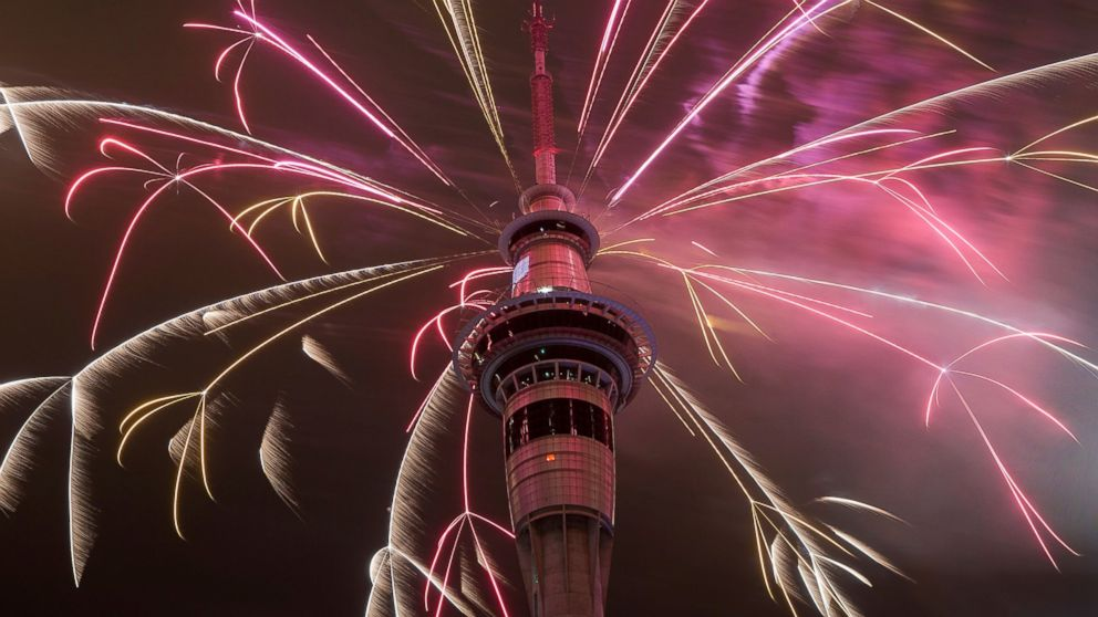 Firework display from the top of the Sky Tower to welcome the New Year on Jan. 1, 2015 in Auckland, New Zealand.
