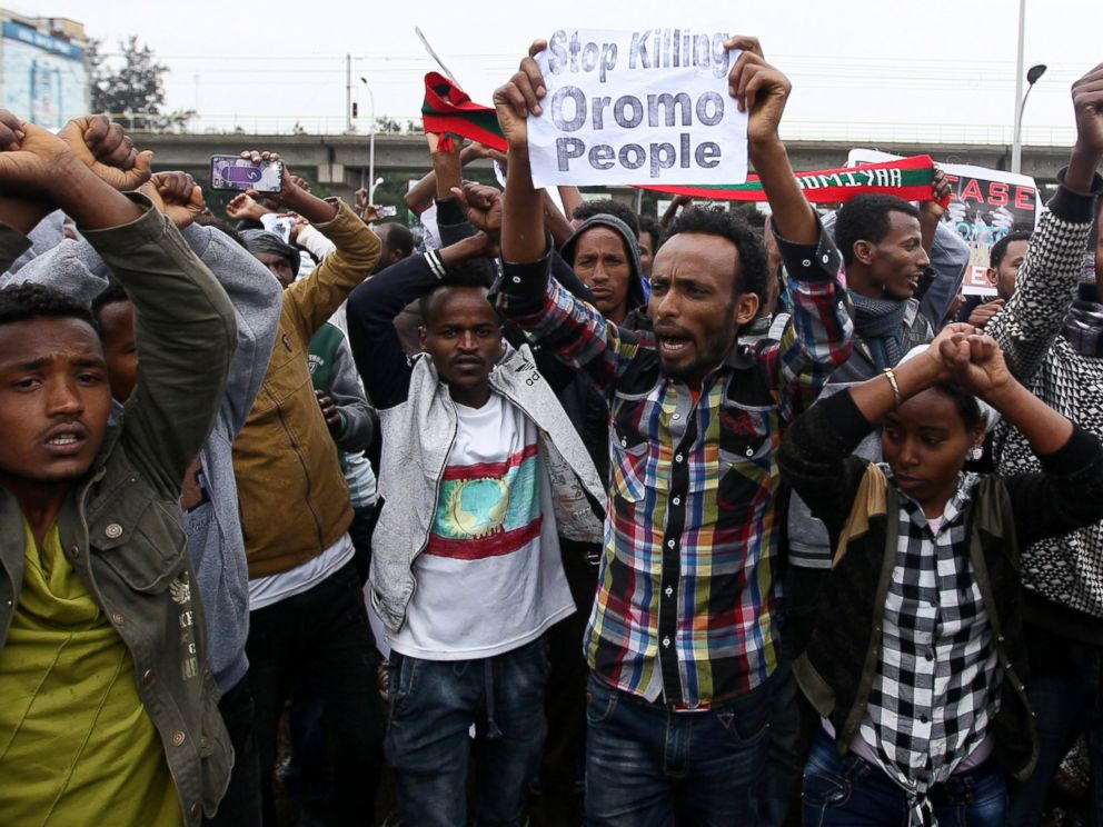 PHOTO: Protesters chant slogans during a demonstration over what they say is unfair distribution of wealth in the country at Meskel Square in Ethiopias capital Addis Ababa, Aug. 6, 2016.