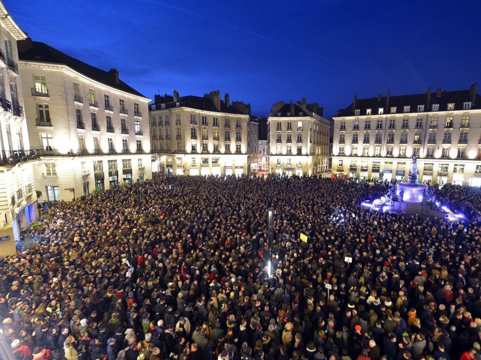PHOTO: People gather at the Place Royale in Nantes to show their solidarity for the victims of the attack by unknown gunmen on the offices of the satirical weekly, Charlie Hebdo, in Paris, Jan. 7, 2015.