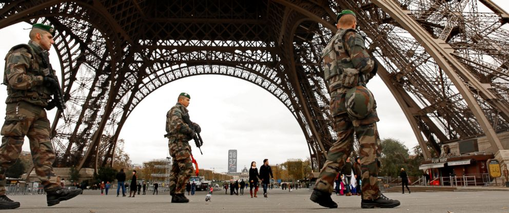PHOTO: Members of the French Foreign Legion patrol near the Eiffel Tower, Nov. 16, 2015.