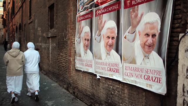 PHOTO:Posters bidding Pope Benedict XVI farewell