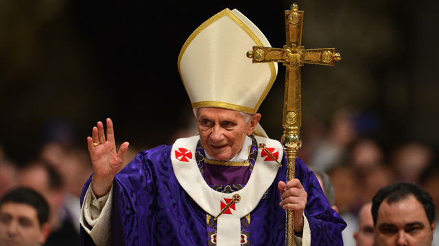 PHOTO: Pope Benedict XVI waves as he leaves after the mass for Ash Wednesday, opening Lent, the forty-day period of abstinence and deprivation for the Christians, before the Holy Week and Easter, on February 13, 2013 at St Peter's basilica at the Vatican.
