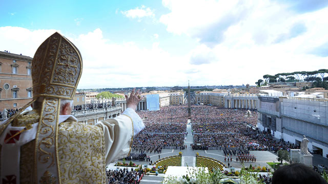 PHOTO: Pope Benedict XVI delivers his Urbi et Orbi message and blessing from the central balcony of St. Peters Basilica at the end of the Easter Mass, April, 2012, in Vatican City, Vatican.